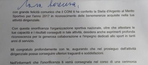 Lorenza Campese – Stella d'Argento al merito Sportivo!